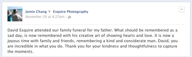 Newport Beach Photographer David Esquire Testimonial